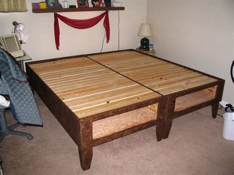 diy bed diy king bed frame with storage bedroom ideas pictures