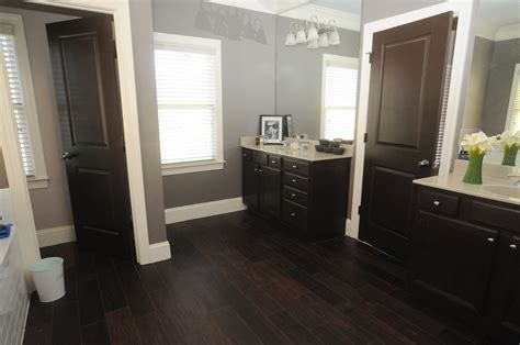 bathroom with dark wood floor introducing the new master bathroom the shooting allens