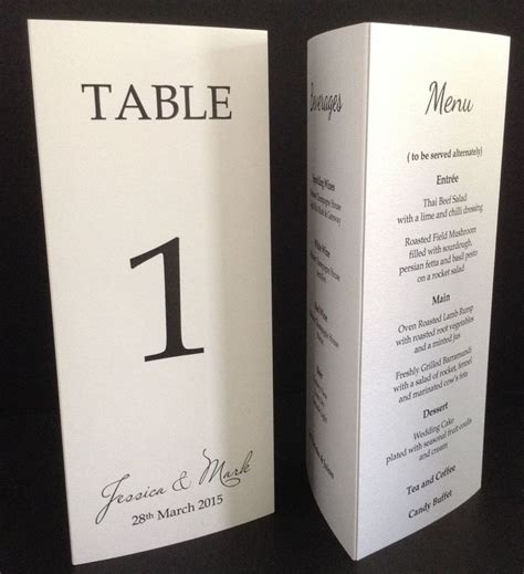 table dc menu 3 sided menu free standing table wedding menu table number