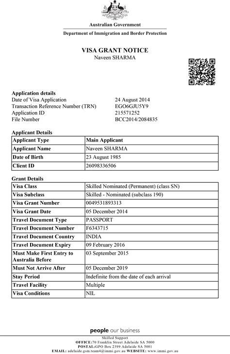 Visa Grant Letter australia visa hireindians