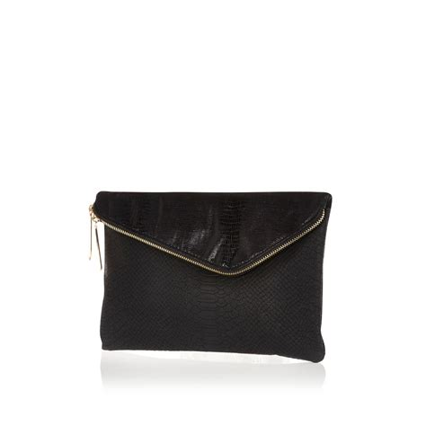 Bags Are Big Carry A Clutch by River Island Black Large Asymmetric Zip Clutch Bag In