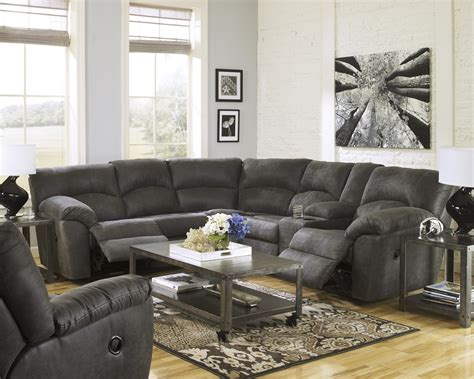 2 piece reclining sectional signature design by ashley tambo pewter 2 piece