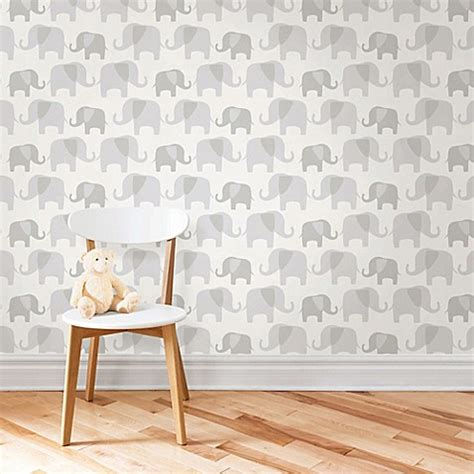 bed bath and beyond wallpaper wallpops 174 nuwallpaper elephant parade peel stick