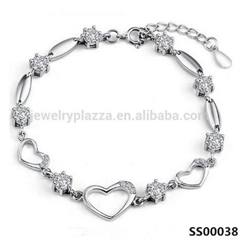 Latest Design Sterling Silver Bracelet Women Cz Crystal Heart Diamond For Girls Hand Chain