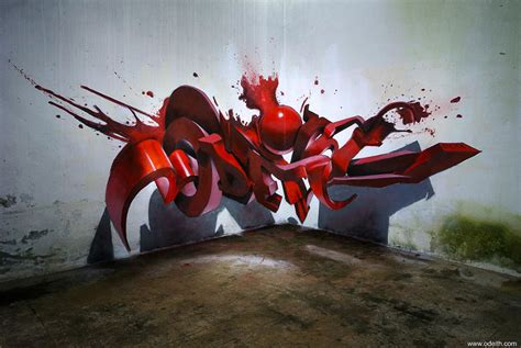imagenes en 3d grafitis incredible 3d graffiti illusions by portuguese artist odeith