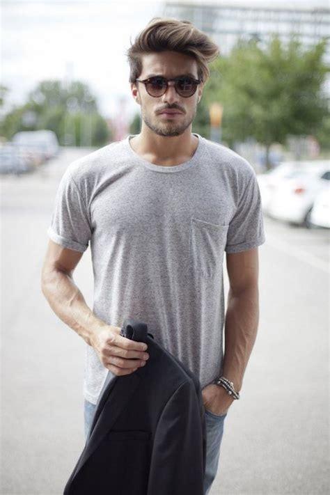 men italian hairstyle simple look grey shirt sunglasses hair beard fashion men