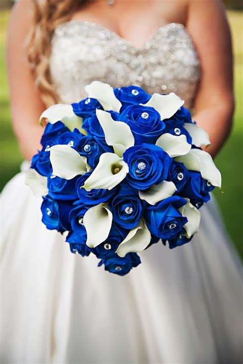Wedding Bouquet Royal Blue by Strapless Sweetheart Ivory Bridal Wedding Gown With