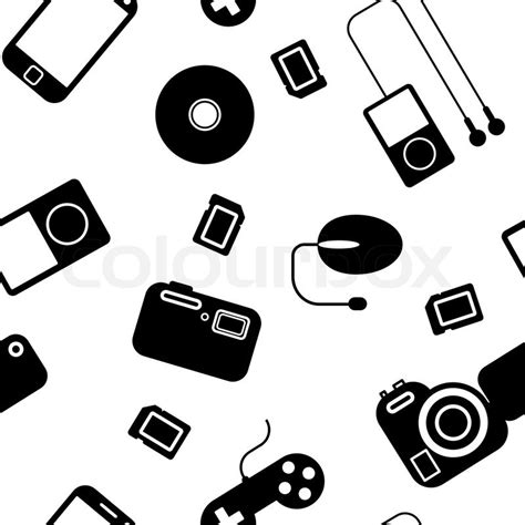 How To Make Paper Gadgets - seamless background iconwithelectronic gadgets stock
