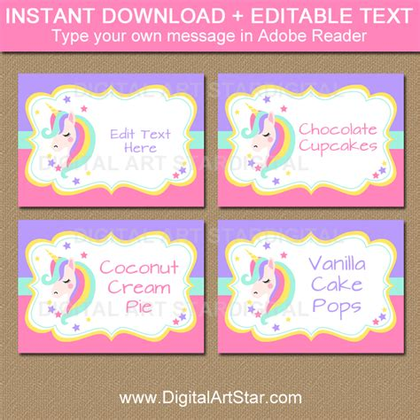 Unicorn Party Supplies Printable Labels Place Cards Digitalartstar Digital Art Star Unicorn Label Template