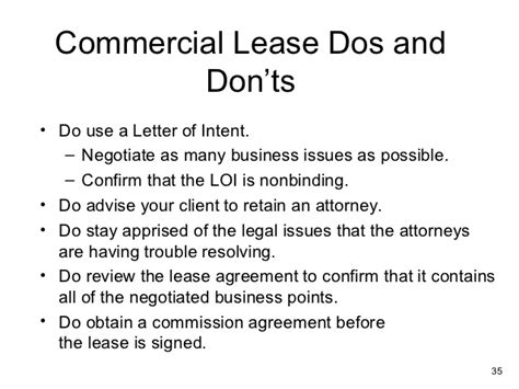 Sle Letter Of Intent To Renew Commercial Lease Commercial Lease Analysis