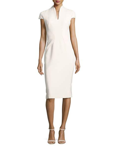 Yoku Dress V zac posen stand collar v neck sheath dress white neiman