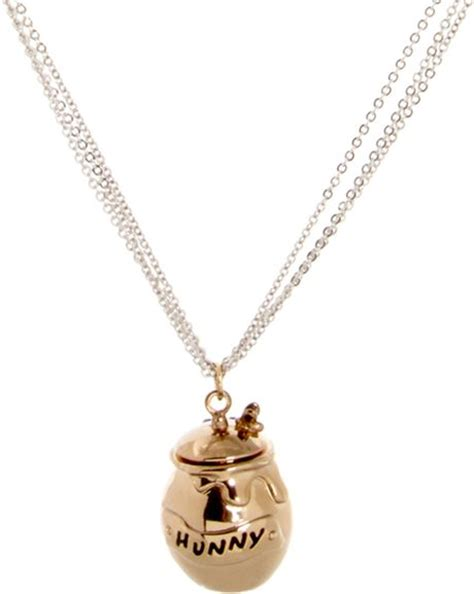 disney couture winnie the pooh hunny jar necklace in gold