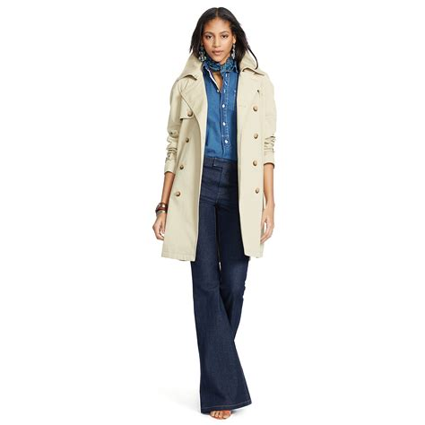 Cotton Trench Coat lyst polo ralph cotton blend twill trench coat in