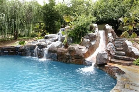 waterfalls for pools inground pool with slides and waterfall bullyfreeworld com