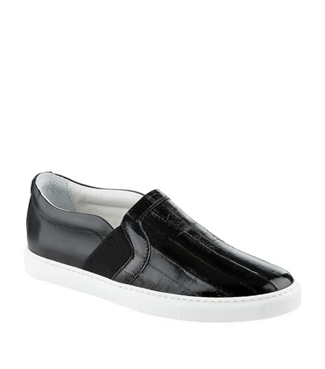 lanvin slip on leather skate shoe in black lyst