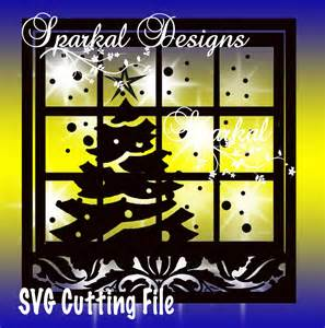 window svg christmas 1 tree scene by sparkaldigitaldesign