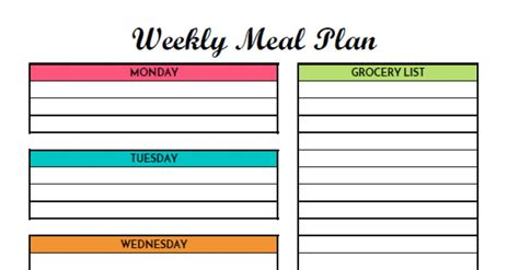 Free Weekly Meal Planning Printable With Grocery List Diet Planner Template