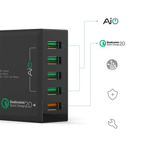 Aukey Charger Usb 5 Port Qc 3 0 Aipower Pa T15 Aukey Charger Usb 5 Port Eu 54w With Qc 2 0 Aipower Pa T1 Black Jakartanotebook