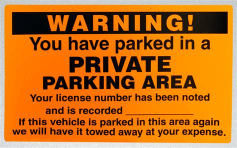 you have parked in private parking area warning permit
