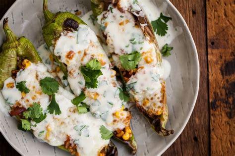 stuffed hatch chiles with cilantro lime yogurt