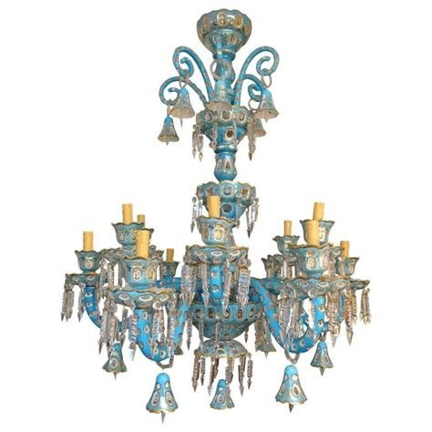 Bohemian Chandeliers Antique Bohemian Cut Blue Chandelier At 1stdibs