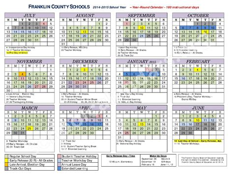 printable calendar elementary school 2014 2015 school district calendar caroldoey