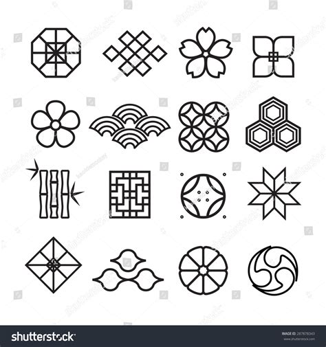 japanese ornament japanese ornament iconvector set stock vector 287878343