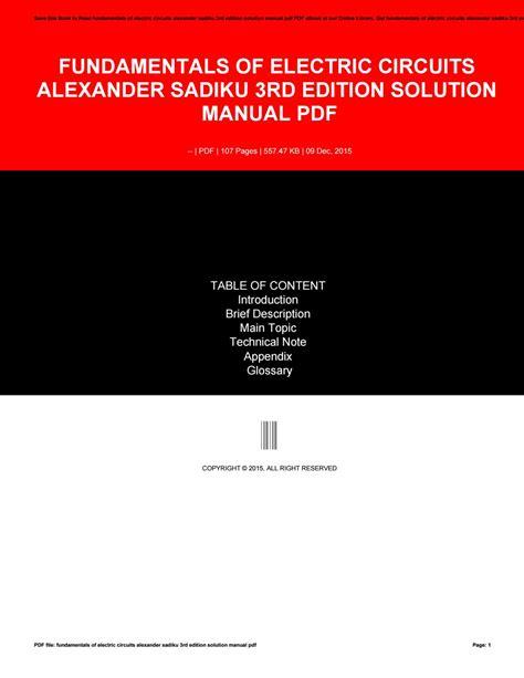 Fundamentals Of Electrics Circuits 5th Edition Charles K fundamentals of electric circuits 3rd edition solution pdf