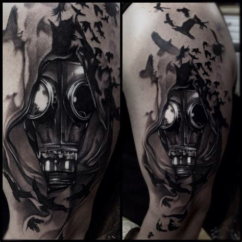 tattoo nightmares gas mask gasmask black and gray tattoo love pinterest grey