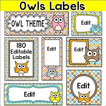 Owl Theme Labels And Templates Make Supply Labels Posters Bin Labels Etc Bin Labels Template