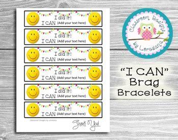 Quot I Can Quot Brag Bracelets Editable By Classroom Designs By Loredana Brag Bracelets Template