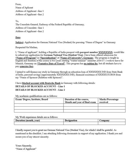 cover letter for german visa how to write letter embassy for student visa howsto co