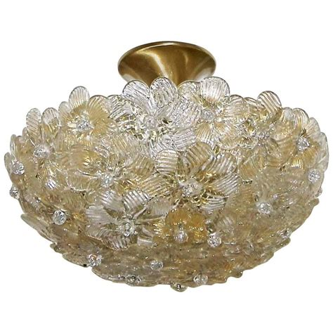 Floral Pendant Light Murano Glass Floral Semi Flush Mount Ceiling Pendant Light For Sale At 1stdibs