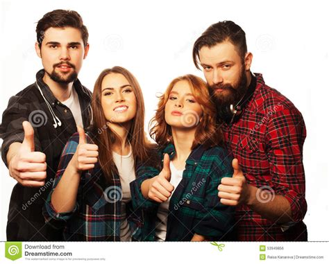 hipster male student showing thumb group stock photo students showing thumbs up stock photo image 53949856