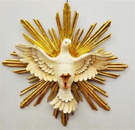 spirito consolatore colomba dello spirito santo intagliata con foglia oro cm 60x60