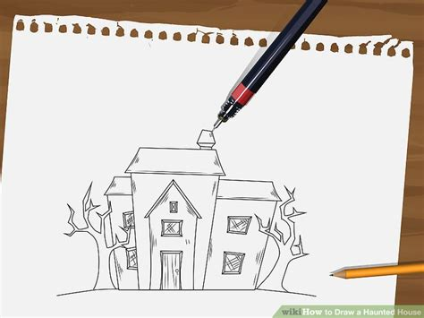 how to draw a haunted house 15 steps with pictures how to draw a haunted house 15 steps with pictures