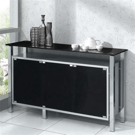 Sideboard With Glass Doors by Wood Sideboard Venus 3 Door Silver With Black Glass