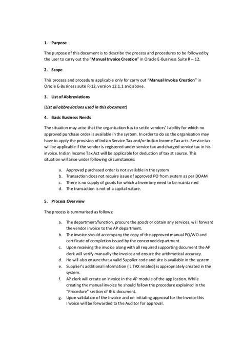 accounts payable manual template sle oracle payable user manual