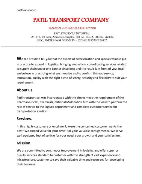 Patil Transport Company Profile Pdf 4 Trucking Company Profile Template