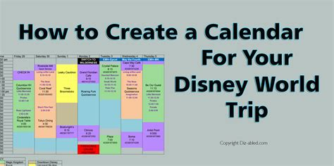 how to make calendar for how to create a calendar for your disney world trip walt