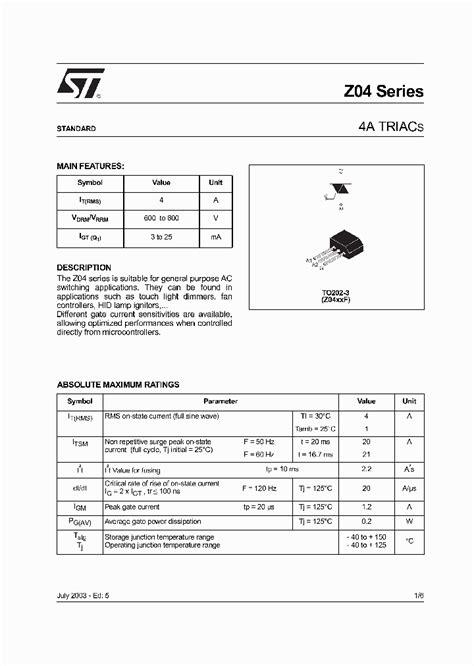 transistor z0409mf z0410nf 202908 pdf datasheet ic on line