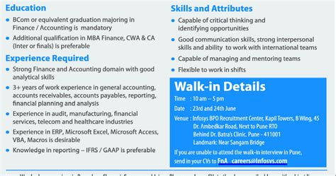 Mba Finance And Accounting In Pune by Infosys Walkin On June 23rd 24th 2012 In Pune