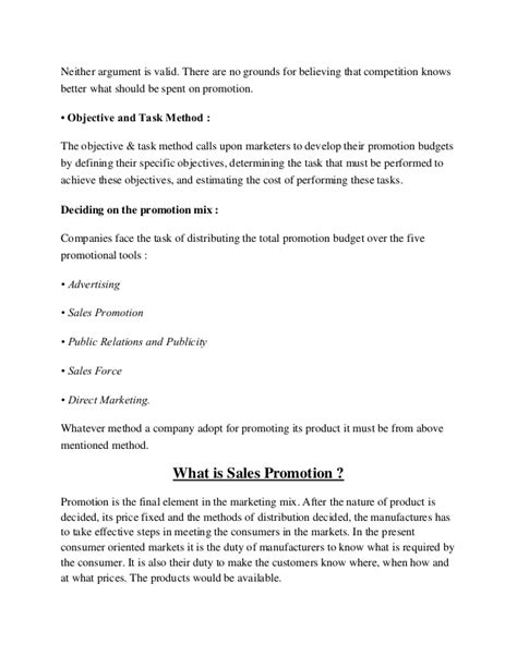 Mba Project Report On Sales Promotion by Sales Promotion Schemes Project Report Mba