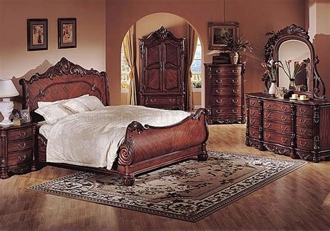 traditional bedroom furniture deep cherry finish classic traditional bedroom w sleigh bed