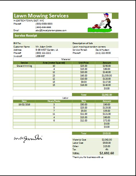 Ms Excel Printable Lawn Mowing Receipt Template Receipt Templates Lawn Mowing Estimate Lawn Care Invoice Template Pdf