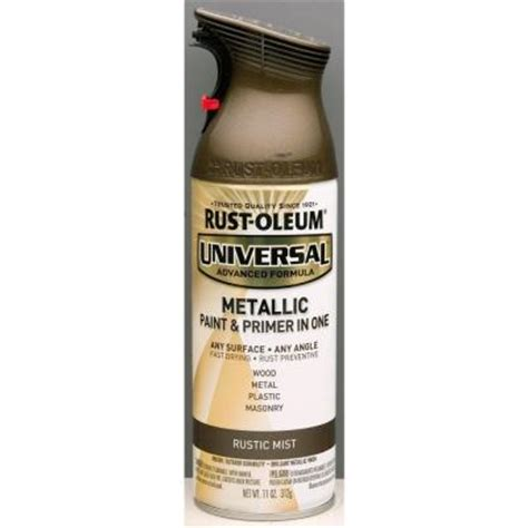 home depot spray paint and primer rust oleum universal 11 oz all surface metallic rustic