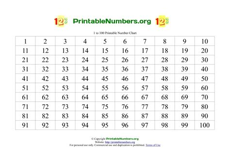 printable numbers cards 1 100 7 best images of printable number chart 1 30 number
