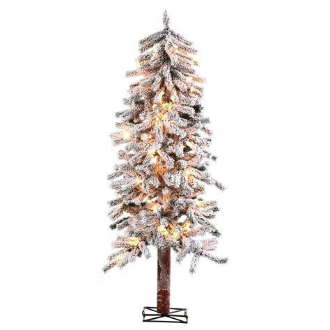 sterling nine foot flocked led trees sterling 5 ft pre lit flocked alpine artificial tree with clear lights 5814 50c