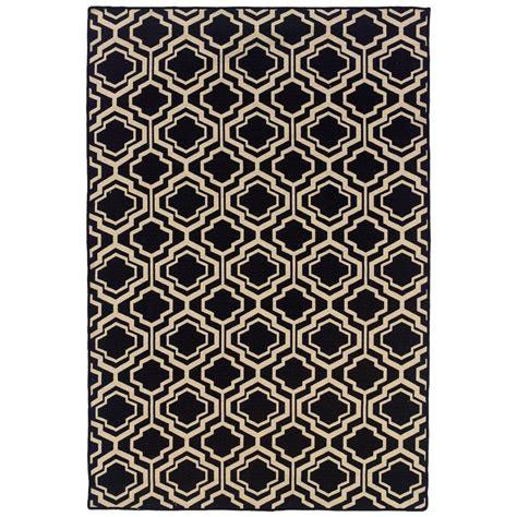 linon home decor rugs linon home decor salonika db quatrefoil black 5 ft x 8 ft