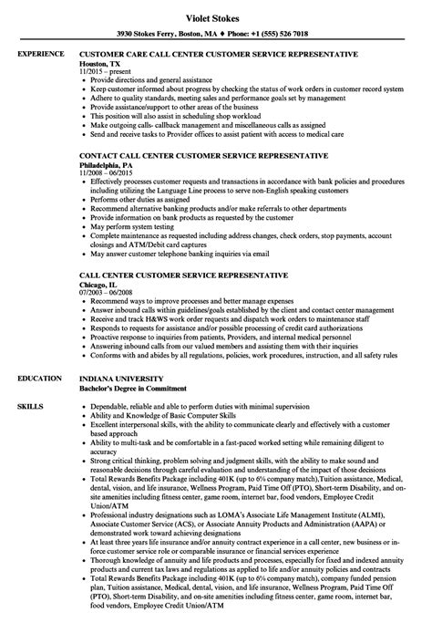 Customer Service Call Center Resume by Call Center Customer Service Representative Resume Sles